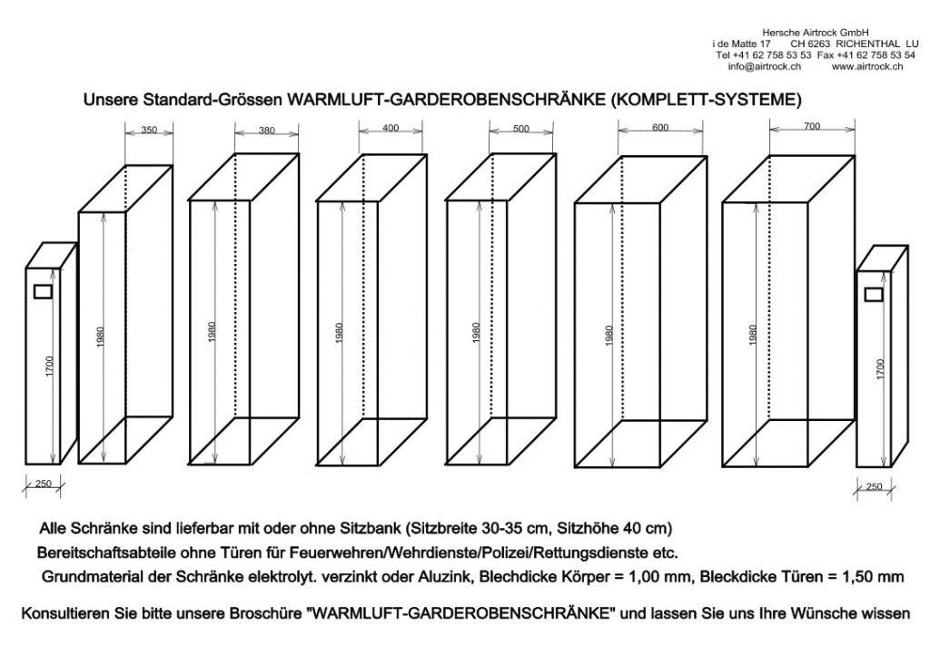 Schweizer Warmluftgarderobenschränke